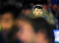 Pumas coach Daniel Hourcade watches his team warm up for The Rugby Championship match between the NZ All Blacks and Argentina Pumas at FMG Stadium in Hamilton, New Zealand on Saturday, 10 September 2016. Photo: Dave Lintott / lintottphoto.co.nz