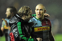 Mike Brown of Harlequins celebrates with Charlie Walker of Harlequins during the Premiership Rugby match between Harlequins and Saracens - 09/01/2016 - Twickenham Stoop, London<br /> Mandatory Credit: Rob Munro/Stewart Communications