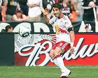 Juan Pablo Angel #9 of the New York Red Bulls sends over a cross during an MLS match against D.C. United on May 1 2010, at RFK Stadium in Washington D.C. Red Bulls won 2-0.