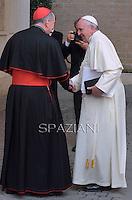 Pope Francis Cardinal Parolin South Korean President Park Geun-hye meeting in the Paul VI hall at the Vatican, on October 17, 2014