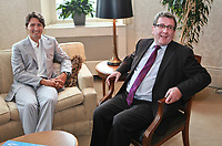 Liberal Party of Canada leader Justin Trudeau and Quebec City mayor Regis Labeaume meet at city hall in Quebec City, Thursday August 22, 2013.<br /> <br /> PHOTO :  Francis Vachon - Agence Quebec Presse