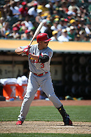 OAKLAND, CA - JUNE 30:  Carlos Beltran #3 of the St. Louis Cardinals bats against the Oakland Athletics during the game at O.co Coliseum on Sunday June 30, 2013 in Oakland, California. Photo by Brad Mangin