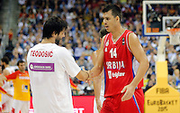 Milos Teodosic Zoran Erceg European championship group B basketball game between Spain and Serbia on 05. September 2015 in Berlin, Germany  (credit image & photo: Pedja Milosavljevic / STARSPORT)