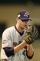 Fort Myers Miracle pitcher Cole Nelson #47 in the bullpen during a game against the Palm Beach Cardinals at Roger Dean Stadium on May 2, 2012 in Jupiter, Florida.  Fort Myers defeated Palm Beach 2-1.  (Mike Janes/Four Seam Images)