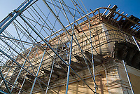 Scaffolding on a building being restored in the historical center of Trinidad, Sancti Spiritus, Cuba.