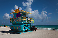 Colorful Blue Painted Wood Lifeguard Tower, White Sand Tropical Beaches, South Beach, Miami, Florida, FL, America, USA.