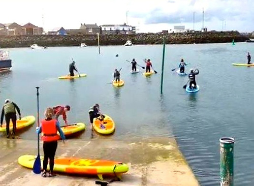 Paddleboarders on a learning curve under safe conditions at Howth YC. Photo: HYC