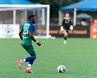 HARTFORD, CT - JULY 10: Preston Tabort Etaka #23 of Hartford Athletic looks to pass during a game between New York Red Bulls II and Hartford Athletics at Dillon Stadium on July 10, 2021 in Hartford, Connecticut.