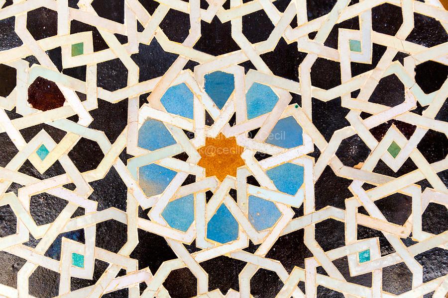 Fes, Morocco.  Medersa Bou Inania, Geometric Tile Work.