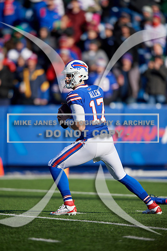 Buffalo Bills quarterback Josh Allen (17) drops back to pass during an NFL football game against the New York Jets, Sunday, December 9, 2018, in Orchard Park, N.Y.  (Mike Janes Photography)