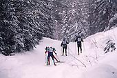 Skiers competing in the Noquemanon Ski Marathon, a  Cross Country Ski Race in Marquette County Michigan.
