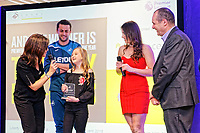 Pictured: Francesca Donovan (L), Lukasz Fabianski (2nd L) and Katy Hosford (4th L). Thursday 15 March 2018<br /> Re: Swansea City AFC Community Trust Celebration Event at the Liberty Stadium, Swansea, Wales, UK.