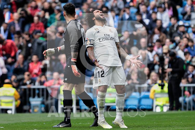 Real Madrid's Marcelo Vieira during La Liga match between Real Madrid and Athletic Club de Bilbao at Santiago Bernabeu Stadium in Madrid, Spain. April 21, 2019. (ALTERPHOTOS/A. Perez Meca)
