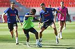 Atletico de Madrid's Saul Niguez, Thomas Lemar and Marcos Llorente during training session. July 15,2020.(ALTERPHOTOS/Atletico de Madrid/Pool)