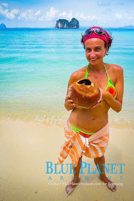 Tourist on the beach, Ko Ngai island, Trang islands, Krabi Province, Thailand