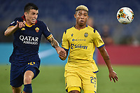 Roger Ibanez of Roma and Eddie Salcedo of Verona compete for the ball<br /> during the Serie A football match between AS Roma and Hellas Verona at Olimpico stadium in Rome ( Italy ), July 15, 2020. Play resumes behind closed doors following the outbreak of the coronavirus disease. Photo Antonietta Baldassarre / Insidefoto