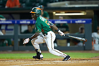 James Davison (51) of the Miami Hurricanes follows through on his swing against the North Carolina Tar Heels in the second semifinal of the 2017 ACC Baseball Championship at Louisville Slugger Field on May 27, 2017 in Louisville, Kentucky. The Tar Heels defeated the Hurricanes 12-4. (Brian Westerholt/Four Seam Images)