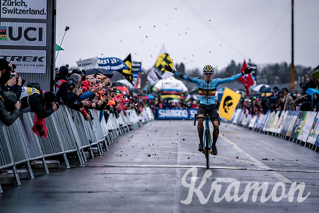 Thibau Nys (BEL) crossing the finish line and  becoming the men's junior World Champion 2020<br /> <br /> Men's Junior race<br /> UCI 2020 Cyclocross World Championships<br /> Dübendorf / Switzerland<br /> <br /> ©kramon