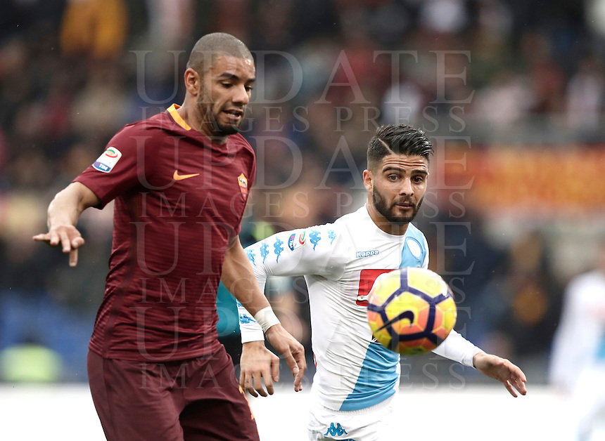Roma's Bruno Peres, left, is challenged by Napoli's Lorenzo Insigne in action during the Italian Serie A football match between Roma and Napoli at Rome's Olympic stadium, 4 March 2017. <br /> UPDATE IMAGES PRESS/Isabella Bonotto