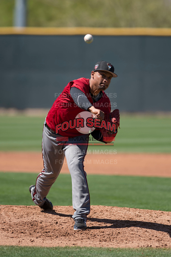 Arizona Diamondbacks starting pitcher Emilio Vargas (18) during a Minor League Spring Training game against the San Francisco Giants at Salt River Fields at Talking Stick on March 28, 2018 in Scottsdale, Arizona. (Zachary Lucy/Four Seam Images)