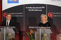 Montreal, CANADA - September 15 - Christiane Germain and Jean-Yves Germain, Co-Presidents of Groupe Germain Hospitalite, deliver a speech to the Canadian Club of Montreal on September 15, 2014.<br /> <br /> Photo : Agence Quebec Presse - Pierre Roussel