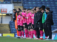16th April 2021; Ewood Park, Blackburn, Lancashire, England; English Football League Championship Football, Blackburn Rovers versus Derby County; the Derby County players observe a minutes silence to honour the life of Prince Philip, Duke of Edinburgh