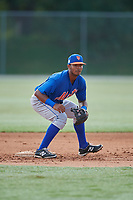 GCL Mets second baseman Pedro Ventura (75) during practice before a game against the GCL Cardinals on July 23, 2017 at Roger Dean Stadium Complex in Jupiter, Florida.  GCL Cardinals defeated the GCL Mets 5-3.  (Mike Janes/Four Seam Images)