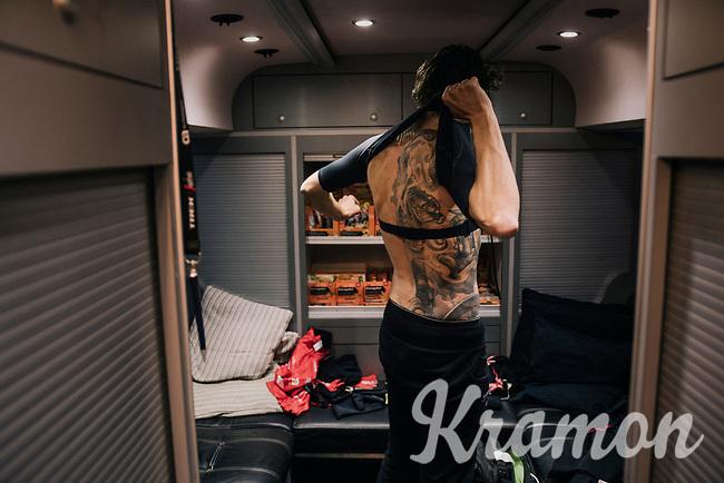 Koen de Kort (NED/Trek-Segafredo) getting ready on the teambus pre-race<br /> <br /> 109th Milano-Sanremo 2018<br /> Milano > Sanremo (291km)
