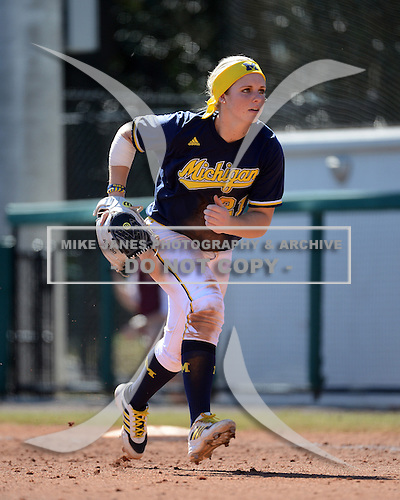 Michigan Wolverines Softball outfielder Kelly Christner (21) during a game against the Bethune-Cookman on February 9, 2014 at the USF Softball Stadium in Tampa, Florida.  Michigan defeated Bethune-Cookman 12-1.  (Copyright Mike Janes Photography)