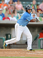 Infielder Jhonny Gomez (5) of the Myrtle Beach Pelicans in a game against the Frederick Keys on August 4, 2012, at TicketReturn.Com Field in Myrtle Beach, South Carolina. Myrtle Beach won, 4-3. (Tom Priddy/Four Seam Images)