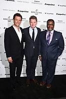 Dominic West, Alex Bilmes and Wendell Pierce<br /> arriving for the Esquire Townhouse 2019 launch party, London.<br /> <br /> ©Ash Knotek  D3528 16/10/2019