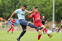 Deniz Undav (9) of Union in attack and Nico Verdoodt (3) of Tempo tries to block the shot in action during  a preseason friendly soccer game between Tempo Overijse and Royale Union Saint-Gilloise, Saturday 29th of June 2021 in Overijse, Belgium. Photo: SPORTPIX.BE   SEVIL OKTEM