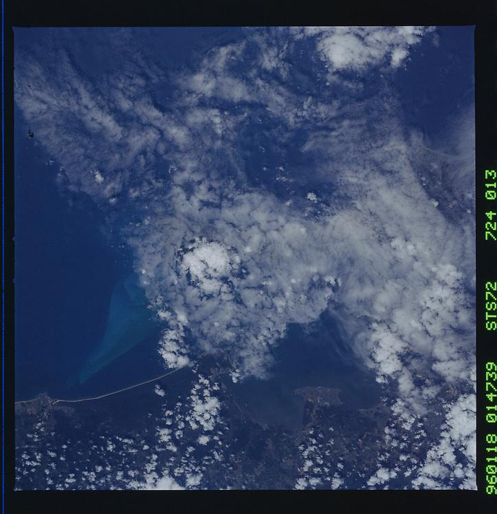 John Angerson. STS-72 Book.<br /> Public Domain Image.<br /> NASA images Courtesy National Archives - Record Group number: 255-STS-STS072<br /> Description: Earth observations taken from shuttle orbiter Endeavour during STS-72 mission.<br /> <br /> Subject Terms: STS-72, ENDEAVOUR (ORBITER), EARTH OBSERVATIONS (FROM SPACE), EARTH LIMB<br /> <br /> Date Taken: 1/18/1996<br /> <br /> Categories: Earth Observations<br /> <br /> Interior_Exterior: Exterior<br /> <br /> Ground_Orbit: On-orbit<br /> <br /> Original: Film - 70MM CT<br /> <br /> Preservation File Format: TIFF<br /> <br /> feat: DARK EARTHOBS<br /> <br /> nlat: -27.6<br /> <br /> nlon: 154.8<br /> <br /> azi: 6<br /> <br /> alt: 166<br /> <br /> elev: 83