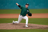 Relief pitcher Austin Morgan (10) of the University of South Carolina Upstate Spartans works a game against the Presbyterian College Blue Hose on Tuesday, March 23, 2021, at Cleveland S. Harley Park in Spartanburg, South Carolina. (Tom Priddy/Four Seam Images)