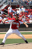 Alexander Smit #31 of the Carolina Mudcats pitching during a game against the Montgomery Biscuits on April 18, 2010 in Zebulon, NC.