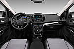 Stock photo of straight dashboard view of 2017 Ford Kuga Titanium 5 Door SUV Dashboard