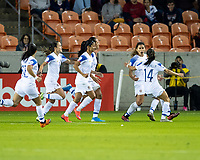 HOUSTON, TX - JANUARY 31: Costa Rican players celebrate their first goal during a game between Haiti and Costa Rica at BBVA Stadium on January 31, 2020 in Houston, Texas.