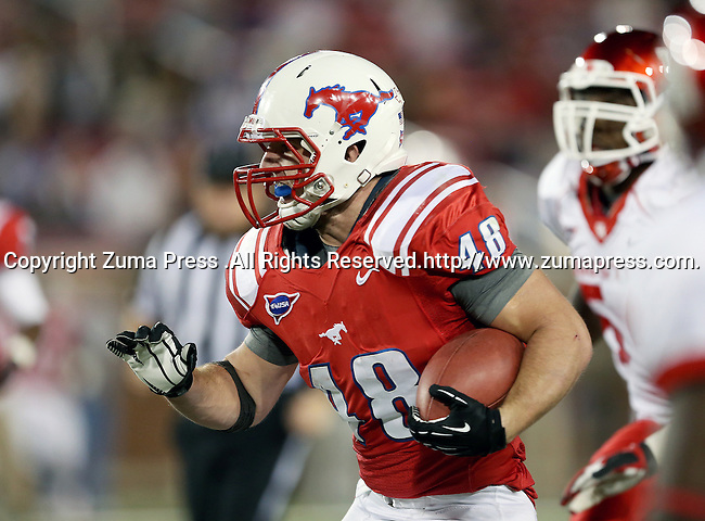 Houston Cougars linebacker Andrew Hogan (48) in action during the game between the University of Houston Cougars and the Southern Methodist Mustangs at the Gerald J. Ford Stadium in Dallas, Texas. SMU leads Houston 28 to 14 at halftime...
