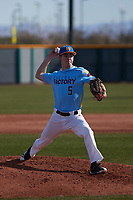 Corey Hall (5) of Champaign Centennial High School in Champaign, Illinois during the Baseball Factory All-America Pre-Season Tournament, powered by Under Armour, on January 14, 2018 at Sloan Park Complex in Mesa, Arizona.  (Freek Bouw/Four Seam Images)