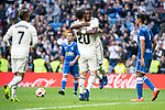 Real Madrid Marco Asensio and Vinicius Jr. celebrating a goal during King's Cup match between Real Madrid and U.D. Melilla at Santiago Bernabeu Stadium in Madrid, Spain. December 06, 2018. (ALTERPHOTOS/Borja B.Hojas)