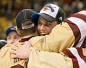 Parker Milner (BC - 35), Brian Dumoulin (BC - 2) - The Boston College Eagles defeated the Boston University Terriers 3-2 (OT) to win the 2012 Beanpot championship on Monday, February 13, 2012, at TD Garden in Boston, Massachusetts.