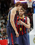FC Barcelona's Tibor Pleiss (l) and Marcelinho Huertas during Liga Endesa ACB match.Apri 12,2015. (ALTERPHOTOS/Acero)