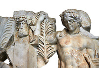 Detail of a Roman Sebasteion relief  sculpture of Agon Aphrodisias Museum, Aphrodisias, Turkey. <br /> <br /> The scene is an allegory of the athletic contest (or agon). The pillar was a beareded head of Hermes the god of the Gymnasium. Nearby is a palm of victory and a prize table with victory ribbon on it. Two winged baby Eros figures are struggling over a palm branch ( mostly broken): they act out the idea of contest, which is personified in the youthful figure behind. He hold another palm of victory: he is Agon himself.