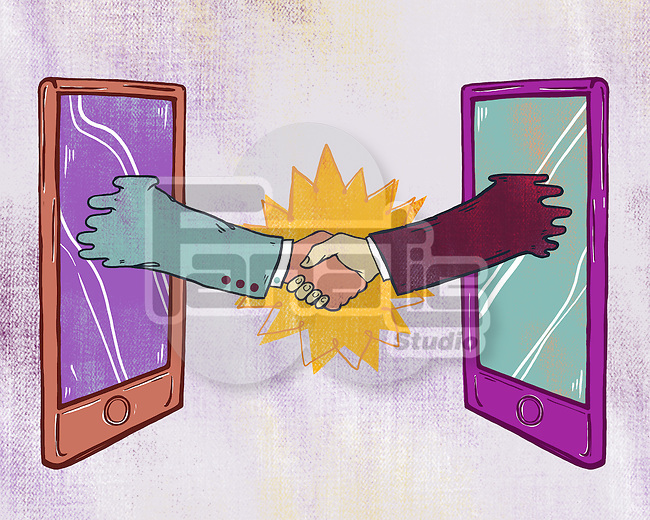 Illustrative image of business people shaking hands through digital tablet representing business networking