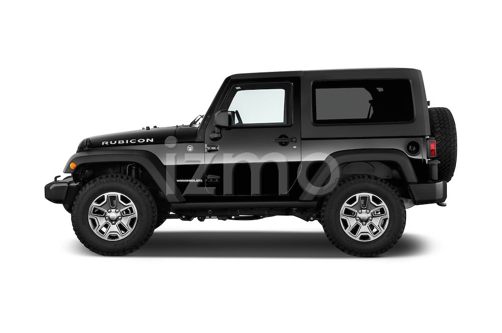 Car Driver side profile view of a 2015 JEEP Wrangler Rubicon 3 Door Suv 4WD Side View