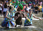 Hundreds of plungers participate in the South Lake Tahoe Polar Plunge at Zephyr Cove, Nev., on Saturday, March 21, 2015. <br /> Photo by Cathleen Allison