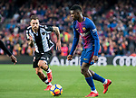 Ousmane Dembele (R) of FC Barcelona competes for the ball with Antonio Manuel Luna Rodriguez of Levante UD during the La Liga 2017-18 match between FC Barcelona and Levante UD at Camp Nou on 07 January 2018 in Barcelona, Spain. Photo by Vicens Gimenez / Power Sport Images