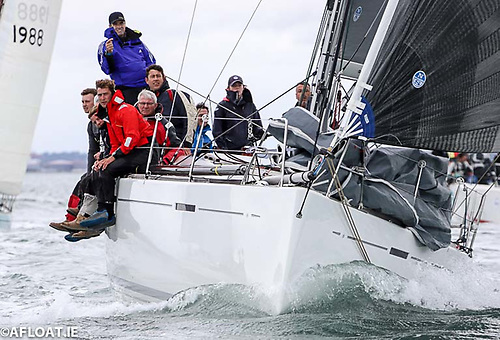Overall winner Nieulargo at the start of the Fastnet 450 Race on Dublin Bay Photo: Afloat