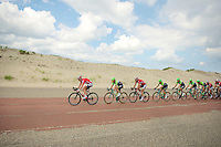 peloton over the Brouwersdam, between the dunes and the dikes<br /> <br /> 3rd World Ports Classic 2014<br /> stage 1: Rotterdam - Antwerpen 195km