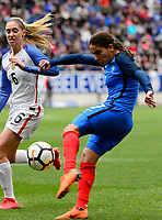 Harrison, NJ - Sunday March 04, 2018: Morgan Brian, Amel Majri during a 2018 SheBelieves Cup match match between the women's national teams of the United States (USA) and France (FRA) at Red Bull Arena.